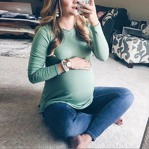 Maternity Fashion Solid Color Casual Long Collar Long Sleeve T-Shirts