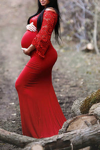 Maternity Fashion Casual Elegant Solid Color Off Shoulder Lace Maxi Dress