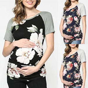 Maternity Fashion Casual Short Sleeve Round Neck Floral Print T-Shirts