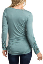 Load image into Gallery viewer, Maternity Fashion Casual Long Sleeve Lace Round Neck T-Shirts