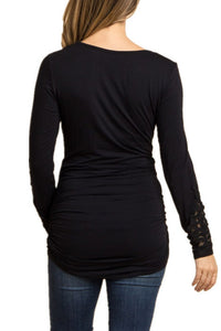 Maternity Fashion Casual Long Sleeve Lace Round Neck T-Shirts