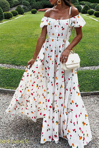 Maternity Fashion Casual Floral Print Off Shoulder Short Sleeve Maxi Dress
