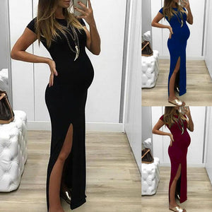 Maternity Fashion Casual Slit Solid Color Bodycon Dress