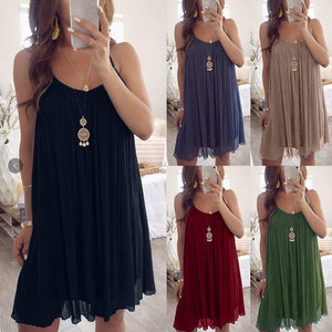 Maternity Fashion Solid Color Sleeveless Casual Dress