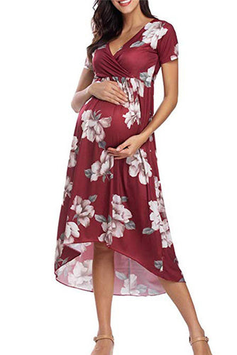 Maternity Fashion Floral Print Short Sleeve V-Neck Casual Dress