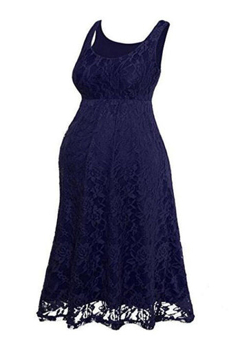 Maternity Fashion Solid Color Sleeveless Lace Casual Dress