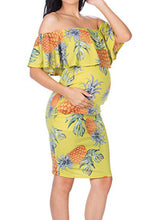 Load image into Gallery viewer, Maternity Fashion Casual Off Shoulder Flounce Printed Bodycon Dress