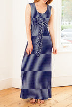 Load image into Gallery viewer, Maternity Fashion Casual Sleeveless Lace-Up Striped Maxi Dress