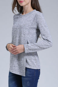 Maternity Fashion Casual Solid Color Round Neck Long Sleeve Nursing T-Shirts