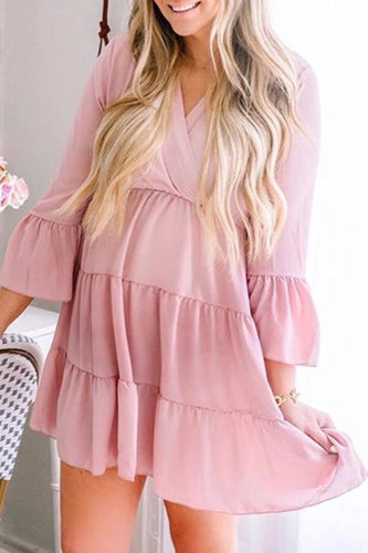 Maternity Fashion V-Neck Long Sleeve Mini Solid Casual dress