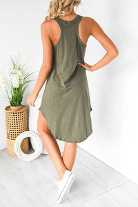 Maternity Fashion Solid Color Scoop Sleeveless Back Casual Dress