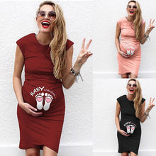 Load image into Gallery viewer, Maternity Round Neck Short Sleeve Printed Dress