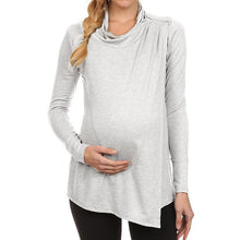Load image into Gallery viewer, Plus Size Women Wear Spring And Summer Long Sleeve High Collar Pregnant Women Nursing Top