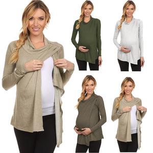 Plus Size Women Wear Spring And Summer Long Sleeve High Collar Pregnant Women Nursing Top