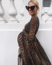Load image into Gallery viewer, Women Leopard Print Round Neck Cotton Pregnant Long Sleeve Maternity Dress
