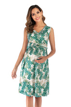 Load image into Gallery viewer, Maternity Summer V Neck Sexy Short Sleeve Breast-feeding Dress