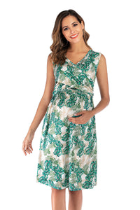 Maternity Summer V Neck Sexy Short Sleeve Breast-feeding Dress