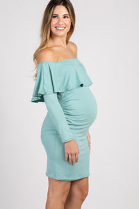 Maternity Off Shoulder Long Sleeve Maternity Dress