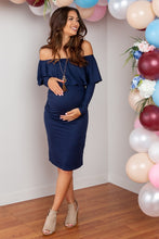 Load image into Gallery viewer, Maternity Off Shoulder Long Sleeve Maternity Dress