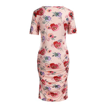 Load image into Gallery viewer, Printed Round Neck Short Sleeve Maternity Dress