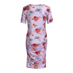 Printed Round Neck Short Sleeve Maternity Dress