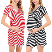 Load image into Gallery viewer, Popular Maternity Dress Care Pajamas Fashion Stripe Short Sleeve Breastfeeding Dress