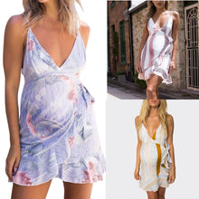 Load image into Gallery viewer, New Striped Printed Suspender V-neck Bow Maternity Dress