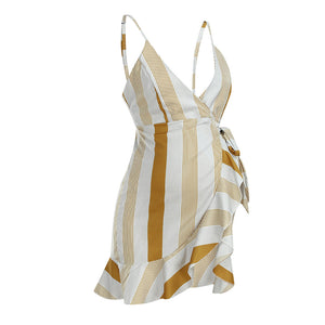 New Striped Printed Suspender V-neck Bow Maternity Dress