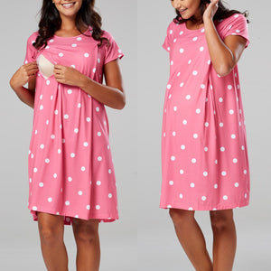 Popular Polka Dot Print Maternity Dress Short Sleeve Nursing Dress