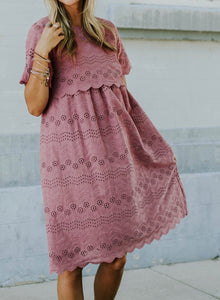 Maternity Summer Solid Round Neck Lace Loose Mother's Breast Feeding Maternity Summer Dress