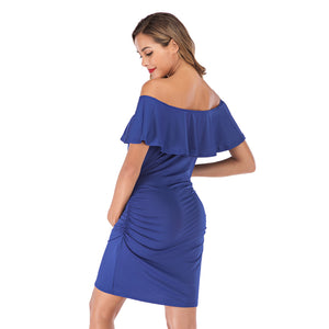 Maternity Women Solid Off Shoulder Maternity Dress
