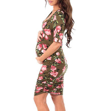 Load image into Gallery viewer, Maternity Popular Short Sleeve Round Neck Maternity Bodycon Dress