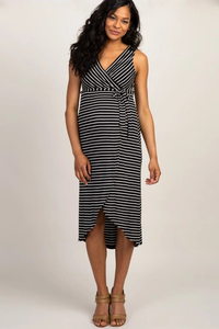 Maternity Popular Sleeveless Striped Bandage Sexy Pregnant Women Dress