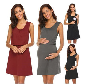 Maternity Fashion Summer Sleeveless Nursing Dress  Dress
