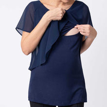 Load image into Gallery viewer, Chiffon Splicing Nursing Shirt Short Sleeve