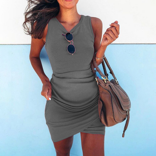 Maternity Unfolded Irregular Cross Sleeveless Hip Sexy Dress