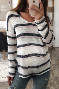 Maternity Casual V-Neck Striped Loose Sweater