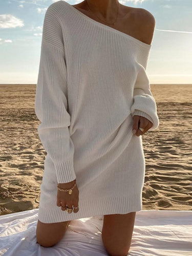 Maternity Sexy round neck long sleeve sweater dress