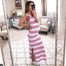 Load image into Gallery viewer, Maternity Side Slit Cut Wide Stripes Casual Sundress