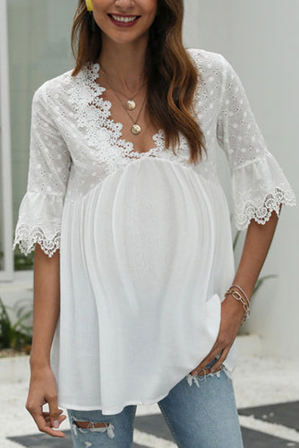 Maternity Lace V-neck Sleeve White Top