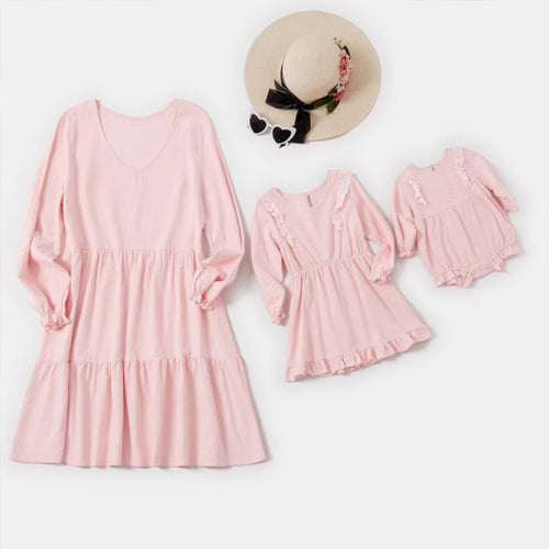 Mom Girl Baby Pink Long Sleeve Matching Dress And Romper