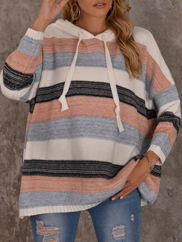 Maternity Color Striped Hooded Sweater