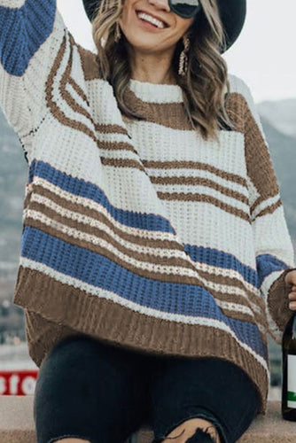 Maternity Striped stitching contrast sweater