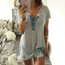 Load image into Gallery viewer, Maternity Fashion Casual Solid Color Short Sleeve Button T-Shirts