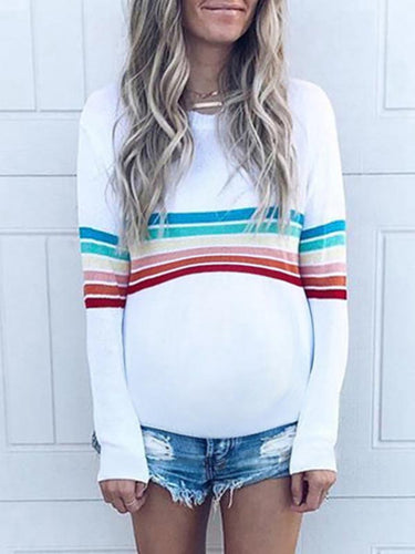 Maternity Casual Striped Round Neck Long Sleeve T-Shirt