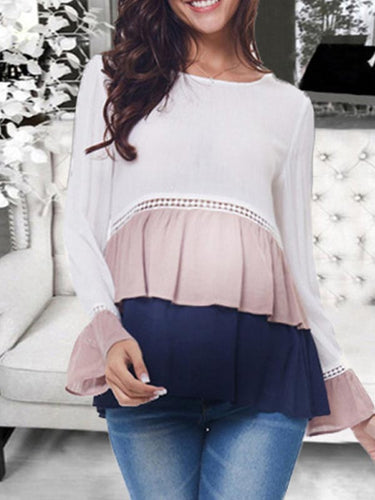 Maternity Casual Chiffon Stitching Color Trumpet Sleeves Tops