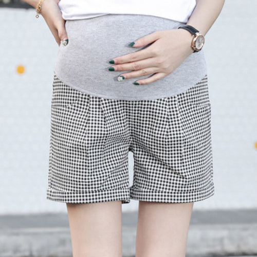 Maternity Plaid Abdomen Supportive Shorts