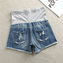 Load image into Gallery viewer, Maternity Ripped Jeans Shorts