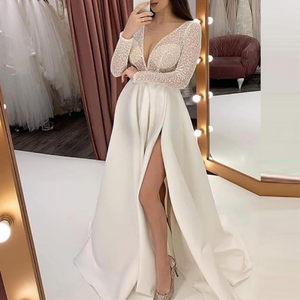 Maternity Sexy V-Neck Perspective Split Dress Dress
