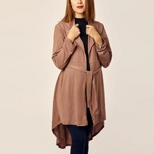 Load image into Gallery viewer, Maternity Fold Over Collar Asymmetric Hem Belt Loops Plain Trench Coat